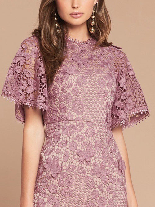 HARPER LACE DRESS -MAUVE/NUDE