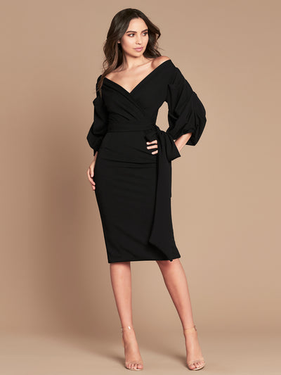 GRACE MIDI DRESS - BLACK