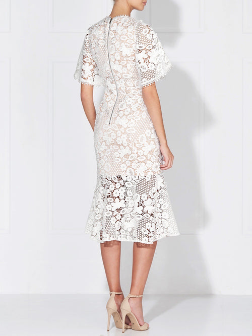HARPER LACE DRESS - IVORY/NUDE