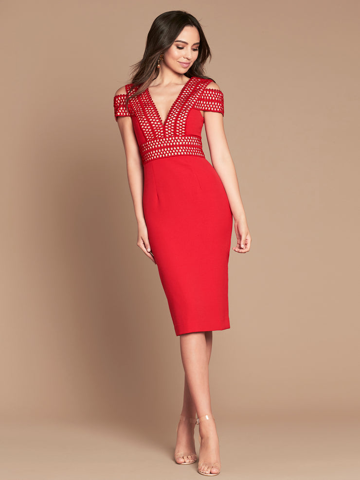 PIA MIDI DRESS - VERMILION