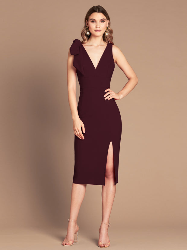 MILANA MIDI DRESS - WINE