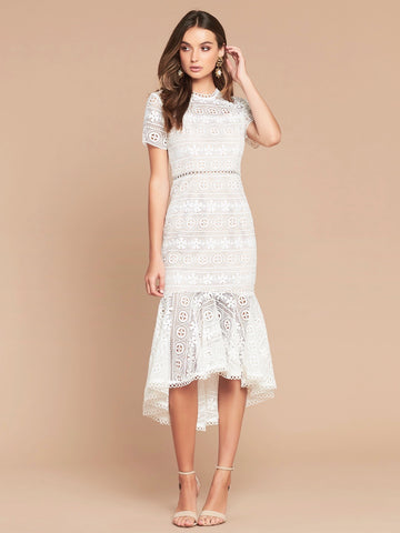 KAYLA LACE DRESS - IVORY/NUDE