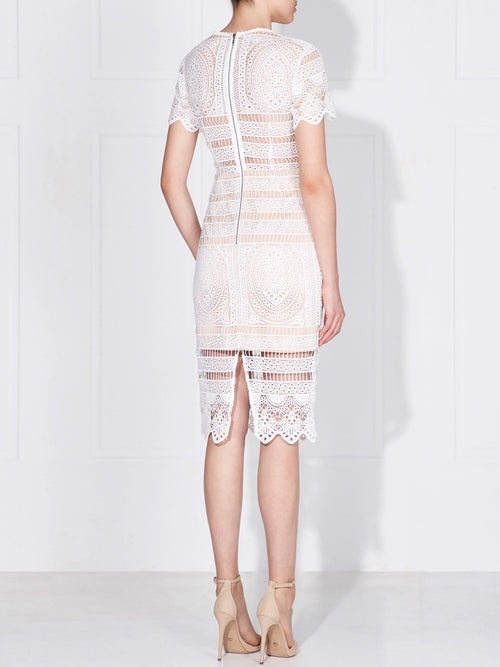 NOLITA LACE DRESS - IVORY/NUDE
