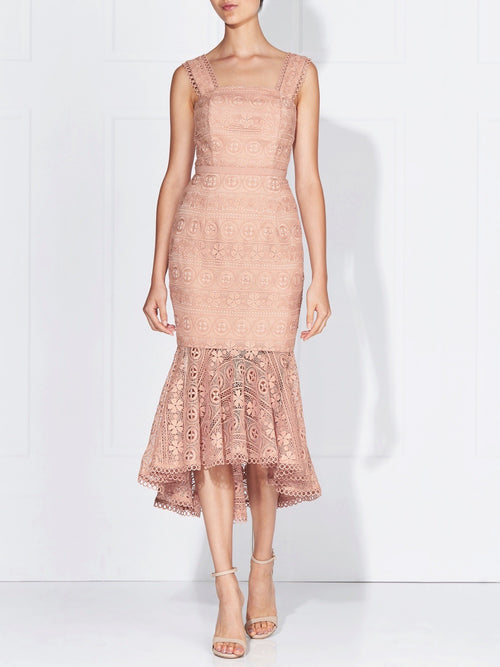 KATERINA LACE DRESS - POWDER/NUDE