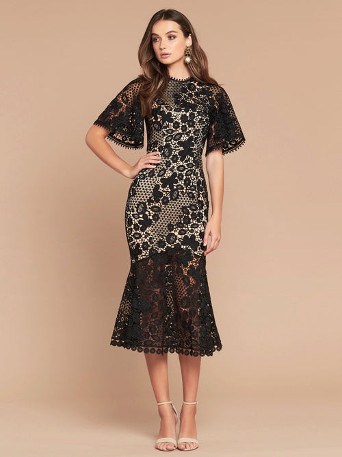 HARPER LACE DRESS - BLACK/NUDE
