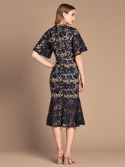 EVIE MIDI DRESS - NAVY/NUDE