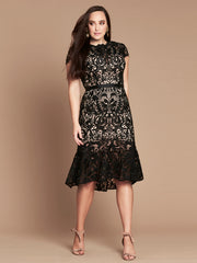 BAROQUE LACE DRESS - BLACK/NUDE