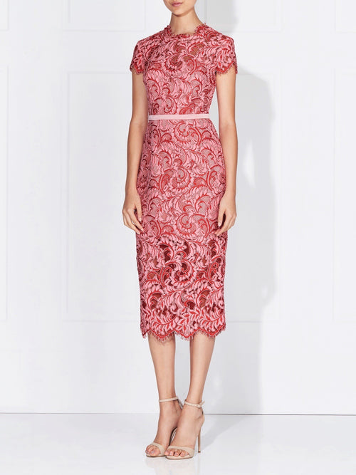 CARLI LACE DRESS - CHERRY/ROSE