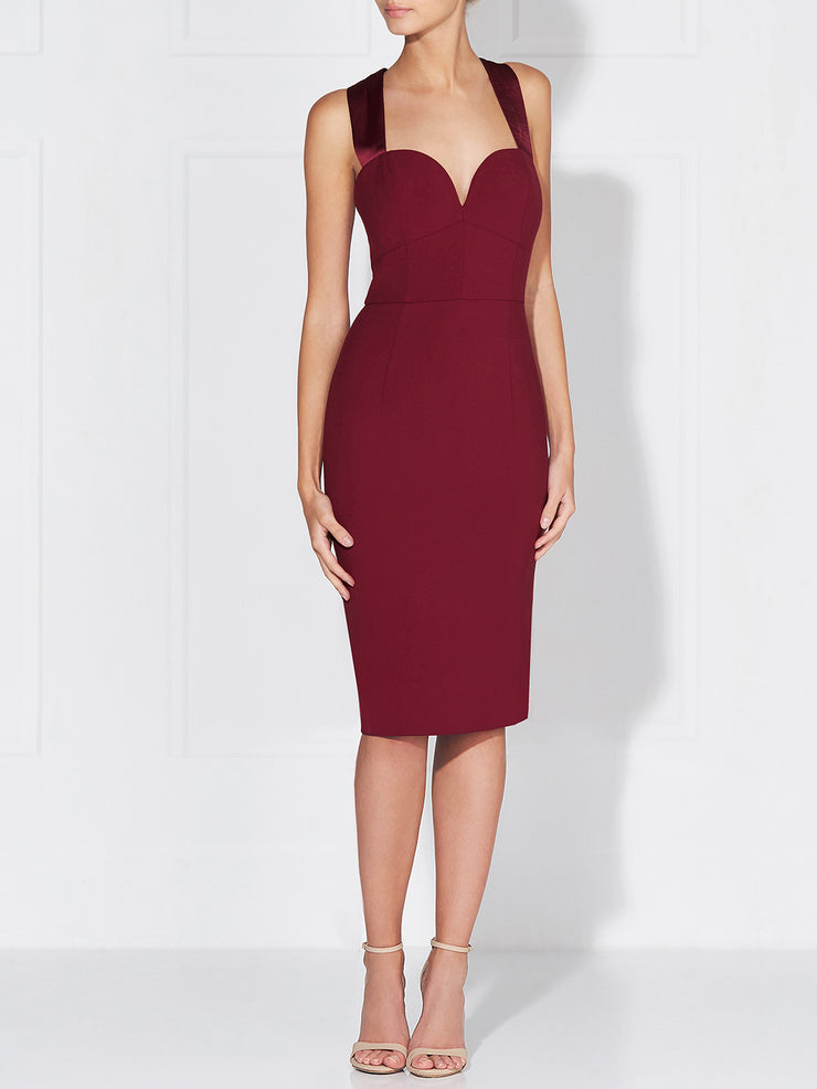 SANDRINE MIDI DRESS - WINE