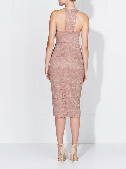 LENA LACE DRESS- DUSTY ROSE/NUDE