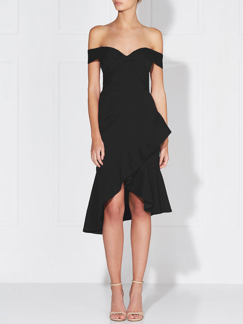VIKTORIA RUFFLE DRESS - BLACK