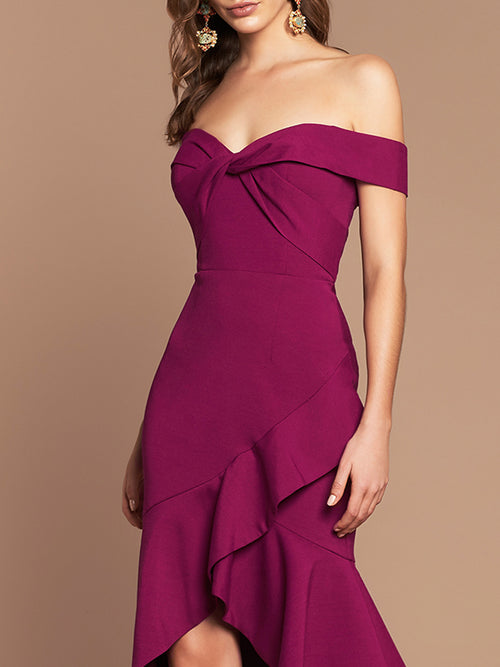 VIKTORIA RUFFLE DRESS - MAGENTA