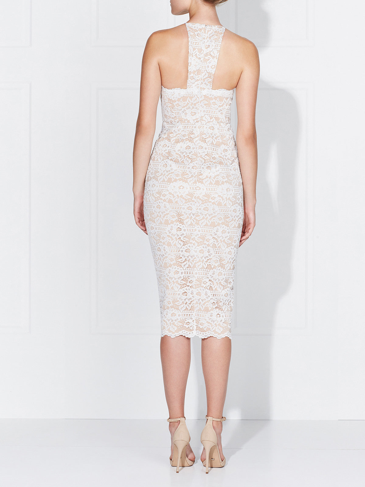 LENA LACE DRESS- IVORY/NUDE