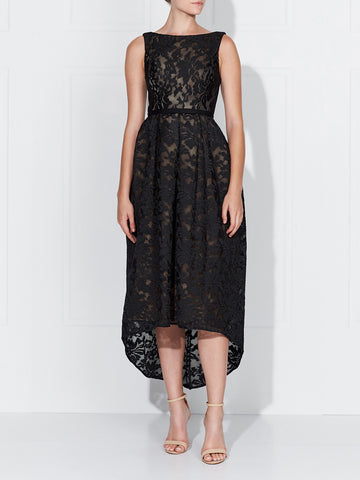 KATERINA LACE DRESS - BLACK/NUDE