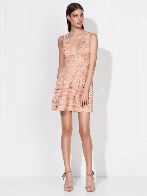 BRIDGETTE DRESS - MELON/NUDE