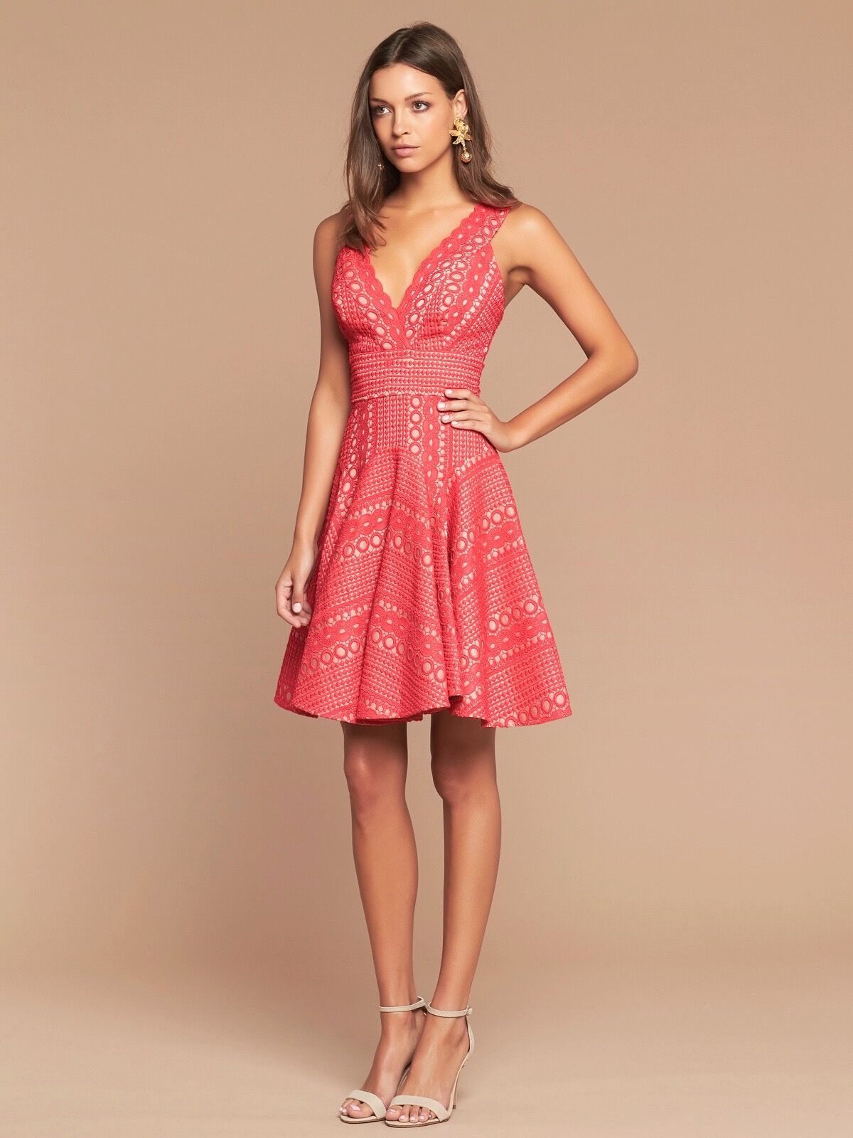 GIGI BONDED LACE DRESS - WATERMELON/NUDE