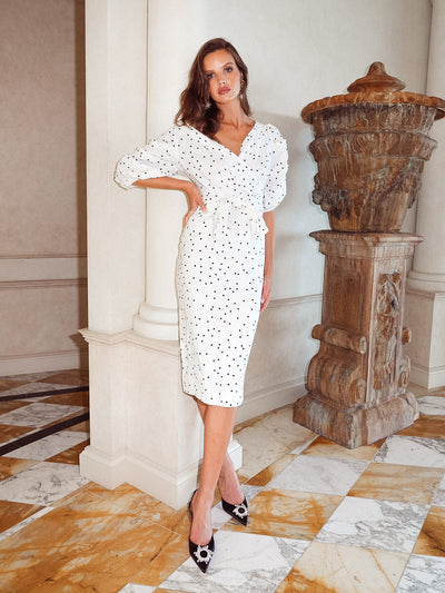 GRACIE LINEN DRESS - WHITE