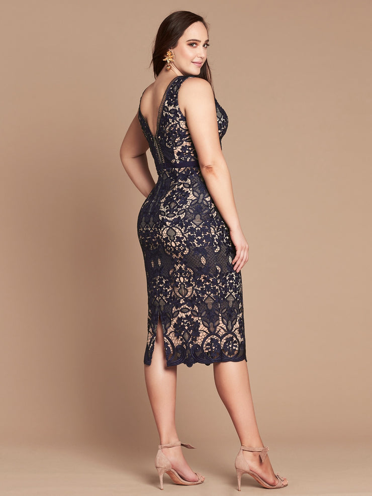 KARINA LACE DRESS - NAVY/NUDE