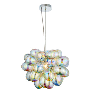 Iridescent Glass Cluster Pendant Light