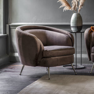 Tuscany Tub Chair Dark Taupe Velvet