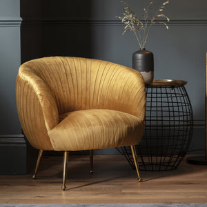 Valencia Tub Chair Gold Velvet
