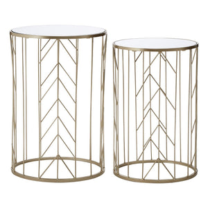 Merriem Champagne Metal Tables