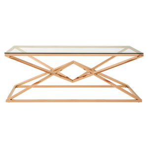 Vitesse Collared Rose Gold Coffee Table