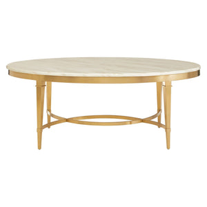 Monceau Oval Coffee Table, White Marble and Gold