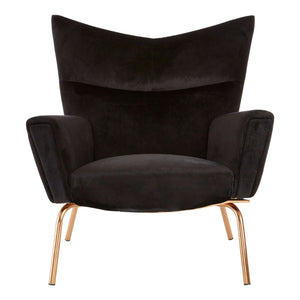 Bowie Black Velvet and Rose Gold Chair