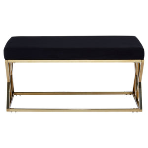 Luxe Black and Gold Ottoman