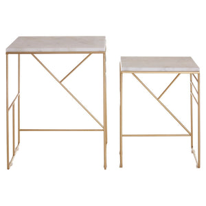 Bel Air Marble and Champagne Side Tables