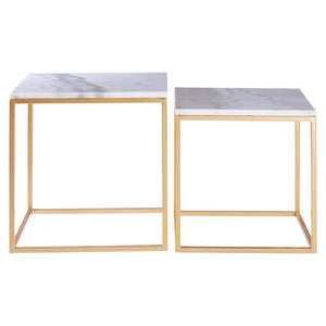 Palisades Marble and Gold Side Tables