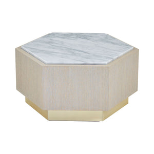 Gentilly Oak and Marble Coffee Table
