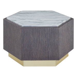 Gentilly Dark Oak and Marble Side Table