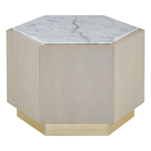 Gentilly Oak and Marble Side Table