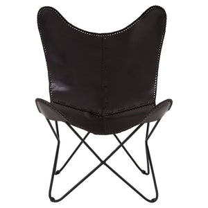 Newport Black Leather Butterfly Chair