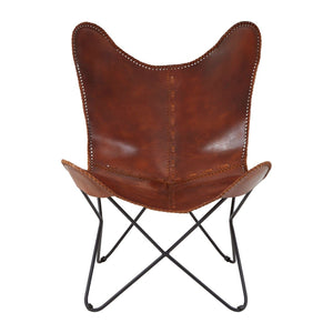 Newport Tan Leather Butterfly Chair