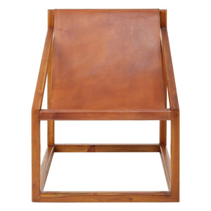 Kerala Brown Teak and Leather Chair