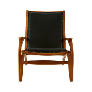 Padang Black Leather and Teak Chair