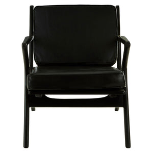 Padang Black Leather and Black Teak Chair