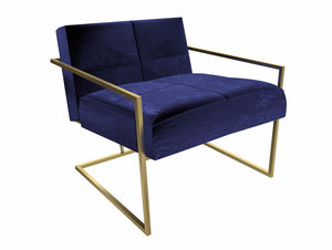 Blue Velvet Armchair with Brass Frame