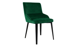 Set of Two Green Velvet Dining Chairs