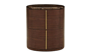 Walnut Veneer Round Nightstand