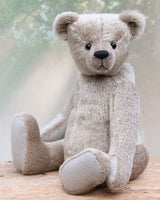 Our Frederick bear in silver grey 9 mm Lasagne mohair by Make A Teddy