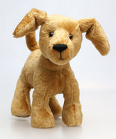 Goldie a dog we made in Old English dense teddy gold English mohair with a straight dense 6 mm pile by Make A Teddy
