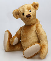 Hubert teddy bear in Old English dense teddy gold English mohair with a straight dense 6 mm pile by Make A Teddy