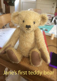 We've included a photo that Jane kindly sent to us of her first teddy bear made from this kit which shows you that a beginner can make a beautiful teddy bear from it.