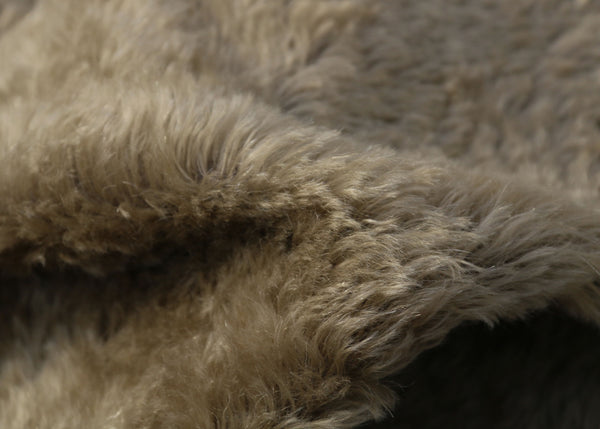 Mudcake is a luxurious brown mohair with a hint of green and a soft and fluffy 20 mm pile. It's a great colour for medium and large traditional teddy bears, the green tinge makes it particularly suitable for bears you want to look old and have a bit of character.