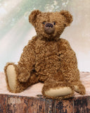 The Augustus teddy bear sewing pattern made up in Make A Teddy's Coffee Truffle mohair