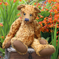 Grimble PRINTED traditional jointed mohair teddy bear sewing pattern by Barbara-Ann Bears for a traditional 17 inch/43 cm teddy bear